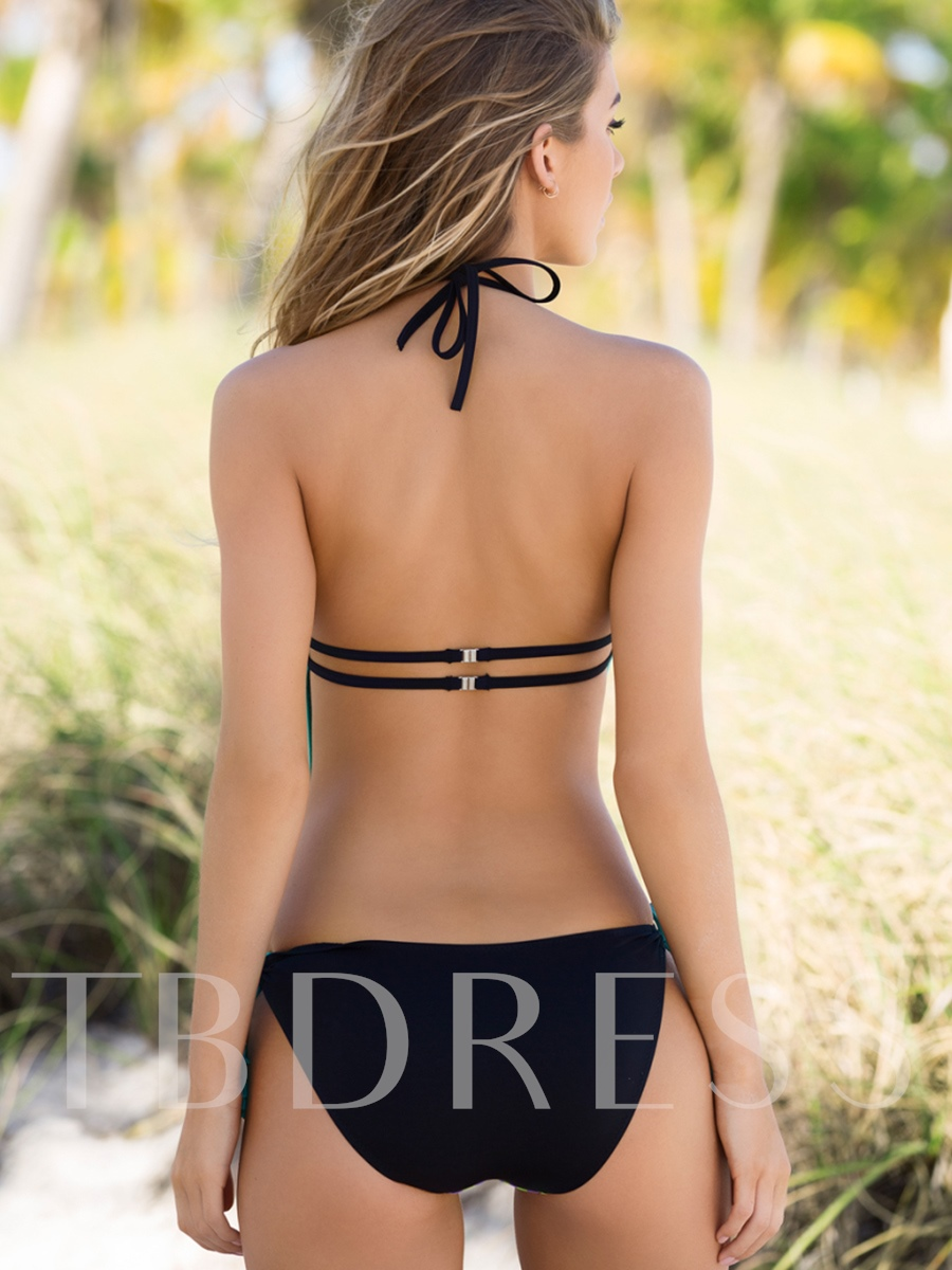 Fashionable Image Print Backless One Piece Swimsuit