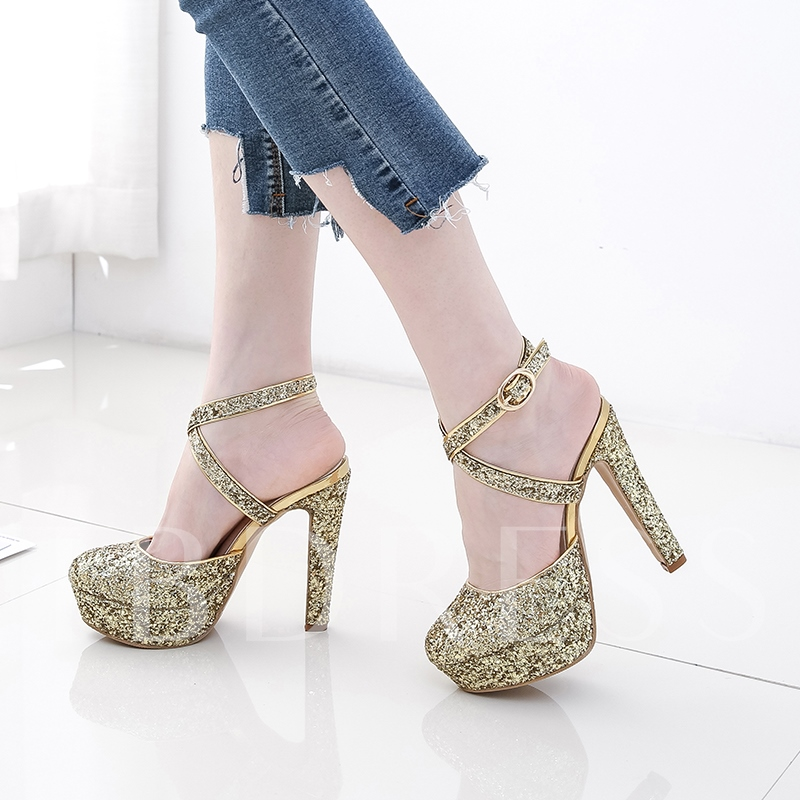 Glitter Chunky Heel Sandals Strappy Platform Shoes for Women