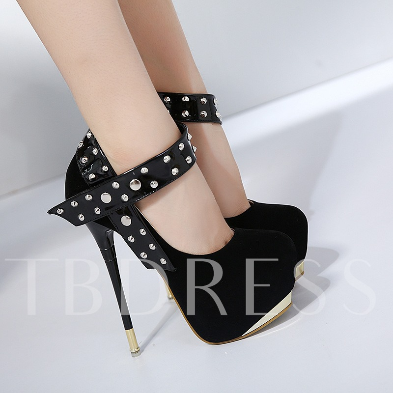 Rivets Line-Style Buckle Black Dress Shoes Platform High Heels for Women