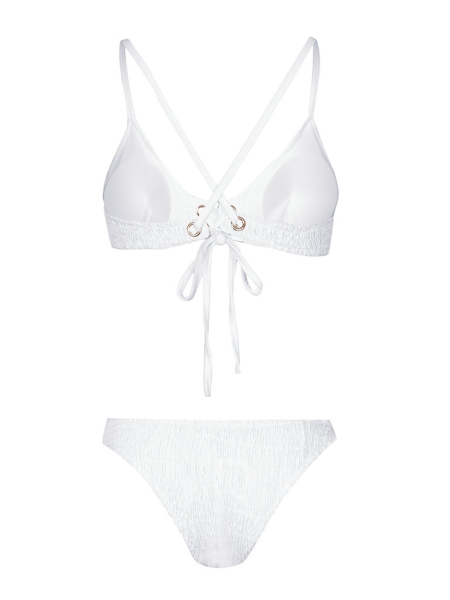 Plain Pleated Lace-Up Bikini Set