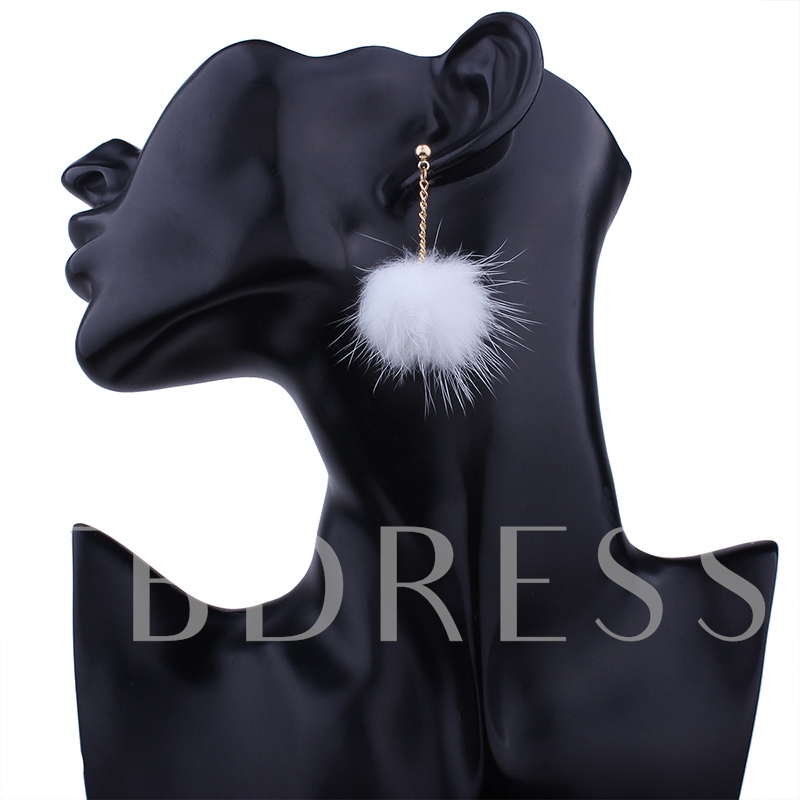 Plain Fuzzy Ball Link Chain European Pom Pom Earrings