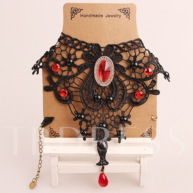 Rhinestone Lace Alloy Vintage Link Chain Halloween Necklace