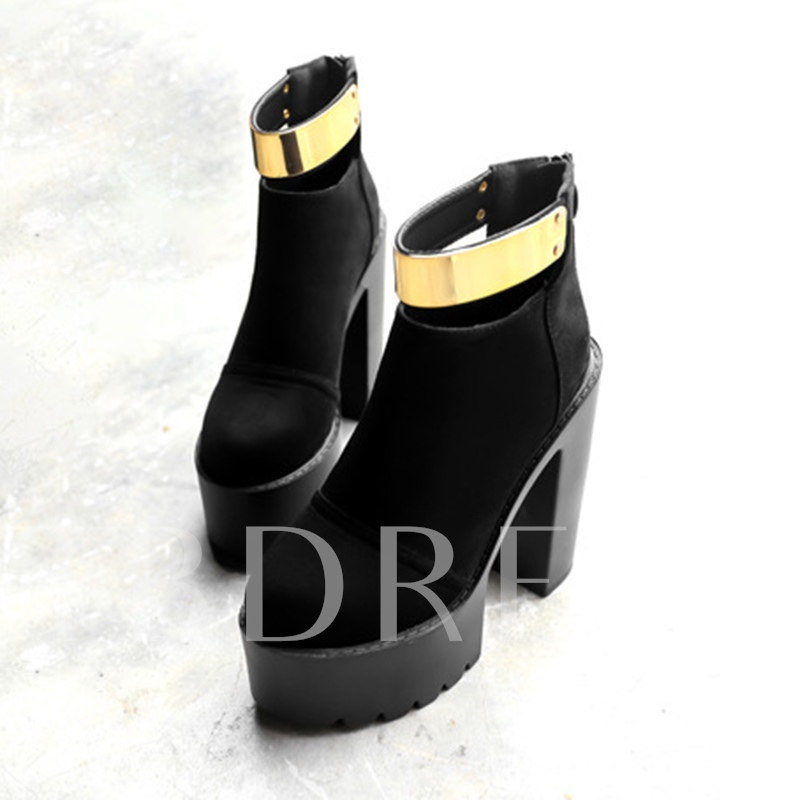 Nubuck Leather Chunky Heel Sequins Platform Boots