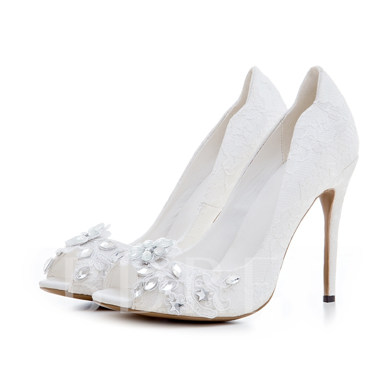 Lace Floral Rhinestone Dress Shoes White Wedding Shoes for Bridal