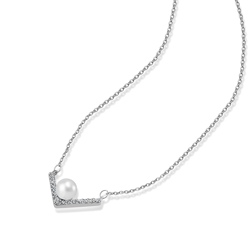 Diamante Pearl V Type Elegant Bronze Silver Plated Necklace