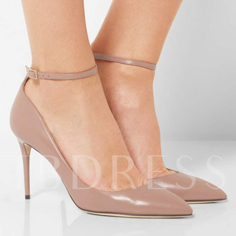 Pink High Heels Plain Dress Shoes Buckle (Plus Size)