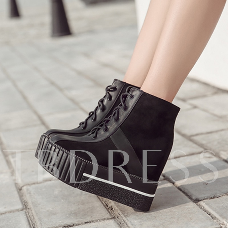 Patchwork Lace-Up Wedge Heel Women's Platform Boots