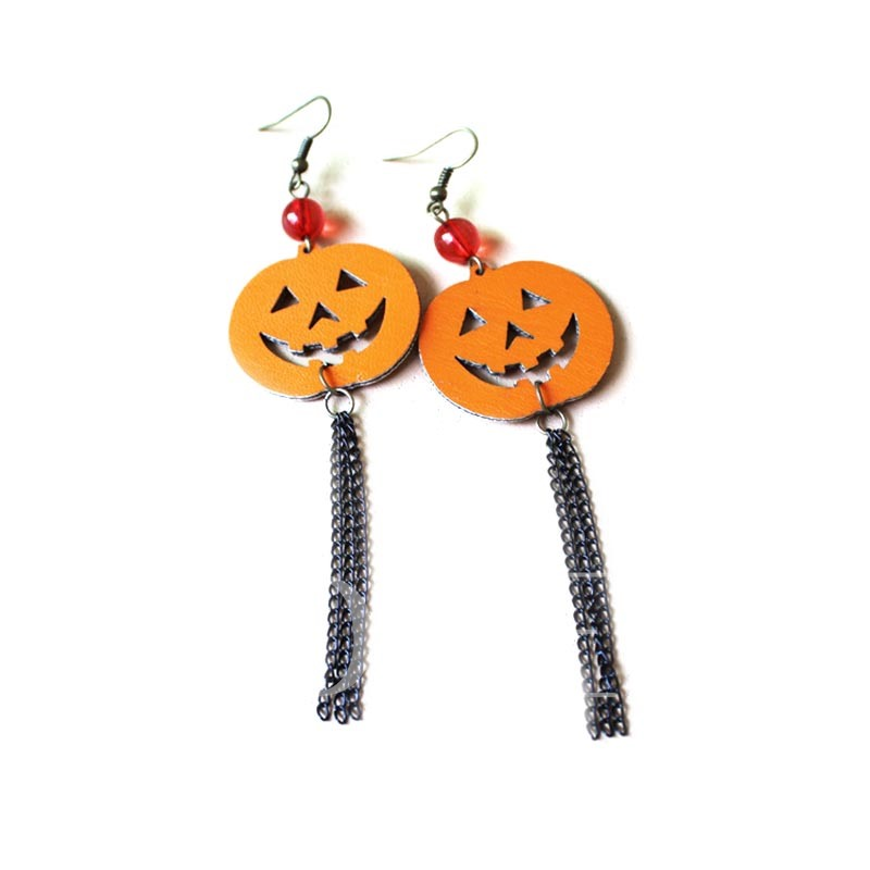 Pumpkin Resin Plastic Halloween Tassel Earrings