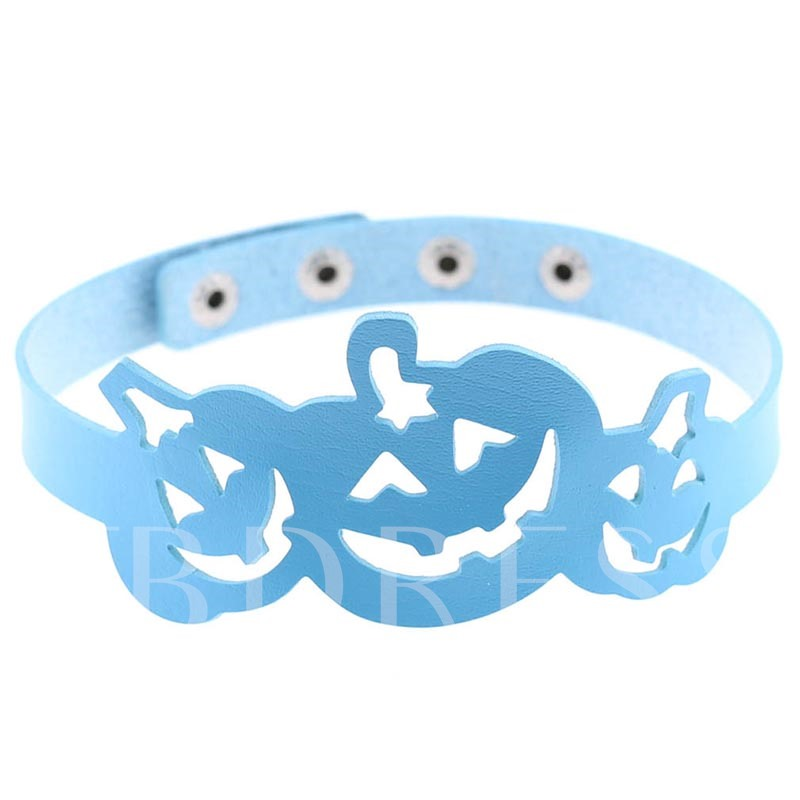 Halloween Series Hollow Out Pumpkin PU Torques Choker Necklace