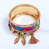 Beads Diamante Leaf Tassel Alloy Geometric Bracelet