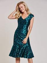 V Neck Beaded Mermaid Cocktail Dress