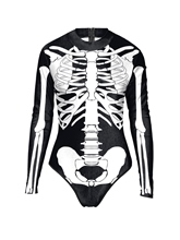 Scary Skeleton Long Sleeve One-Piece Swimsuit