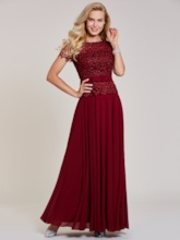 Scoop Short Sleeves Lace A-Line Sashes Evening Dress