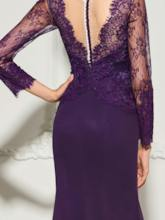 Split-Front Mermaid Button Lace Long Sleeves Evening Dress