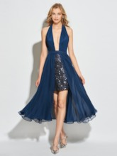 A-Line Halter Backless Sequins Tea-Length Cocktail Dress