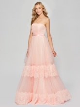 A-Line Strapless Appliques Bowknot Sashes Floor-Length Prom Dress