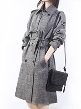 Square Neck Double-breasted with Belt Women's Trench Coat