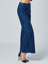 Plain Loose High-Waist Bellbottoms Women's Jeans
