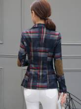 Plaid Notched Lapel Slim Pockets Women's Blazer