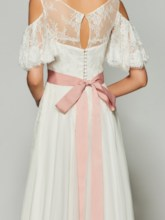 A-Line Bateau Two Pieces Half Sleeves Button Bowknot Lace Prom Dress