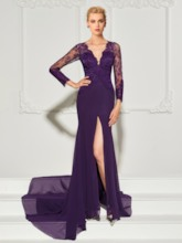 Long Sleeves Mermaid ButtonV-Neck Lace Split-Front Evening Dress