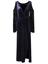 Velvet Cold Shoulder lantern Sleeve Women's Maxi Dress
