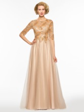 Half Sleeves A-Line Sequined Mother of the Bride Dress