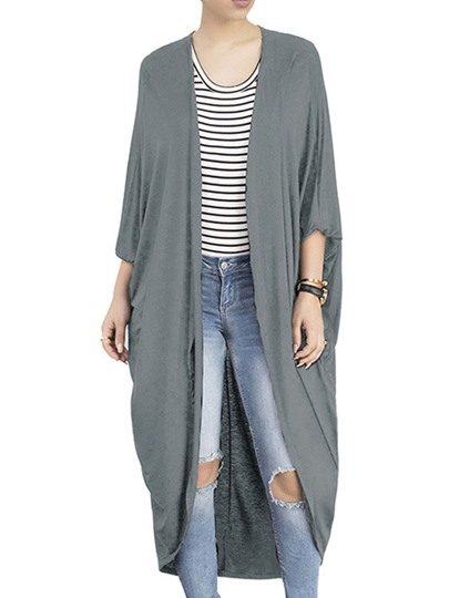 Plain Long Three-quarter Sleeve Women's Cardigan