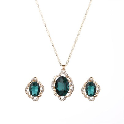 Diamante Oval Cut Hollow Out Alloy European Jewelry Sets
