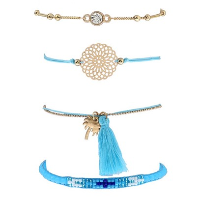 Blue Woven Tassel Hollow Out Rhinestone Bracelet