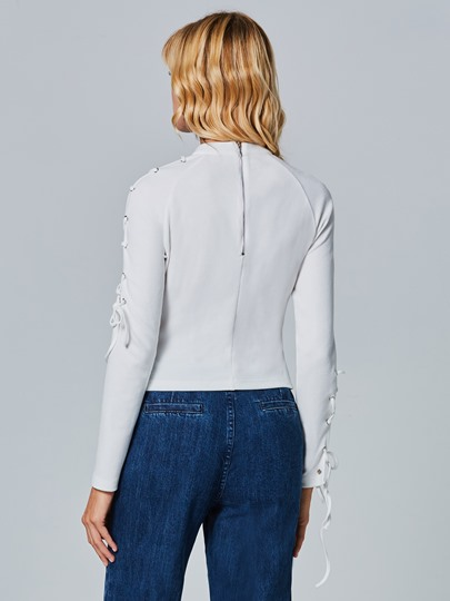 Turtle Neck Hollow Lace-up Pullover Slim Women's Knitwear