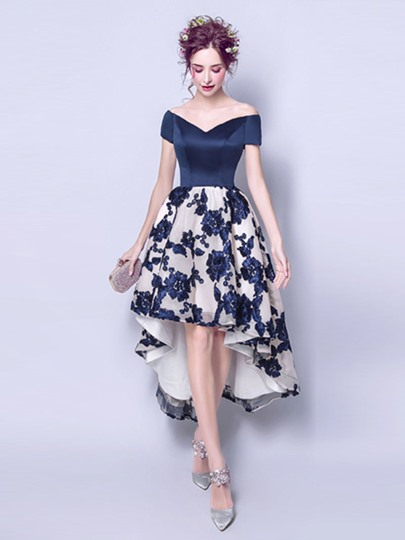 V-Neck A-Line Lace Short Sleeves Asymmetry Homecoming Dress
