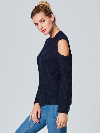 Hollow Plain Long Sleeve Pullover Women's Sweater