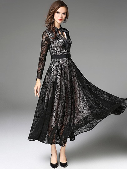 Black Tie Neck Lace Women's Maxi Dress