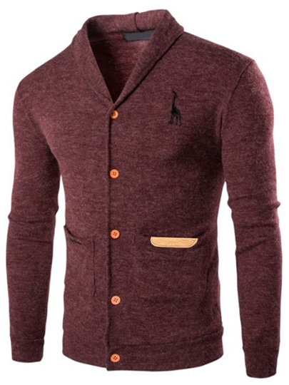 Solid Color Single-Breasted Men's Slim Sweater