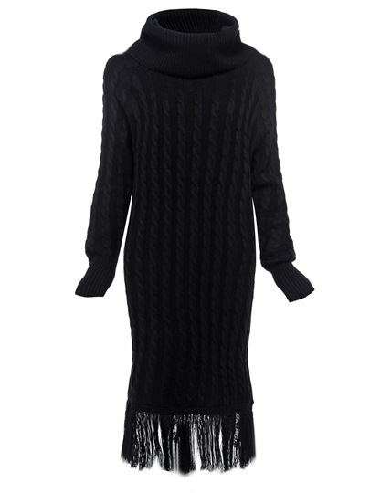 Black Turtle Neck Tassels Women's Sweater Dress