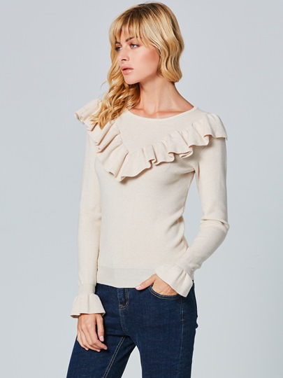 Round Neck Woolen Fabric Falbala Slim Pullover Women's Sweater