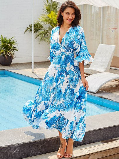 V Neck Blue Vacation Women's Maxi Dress