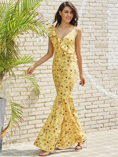 Yellow Floral Falbala Vacation Women's Maxi Dress