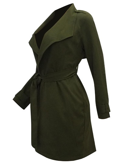 Notched Lapel V-neck with Belt Sexy Women's Trench Coat