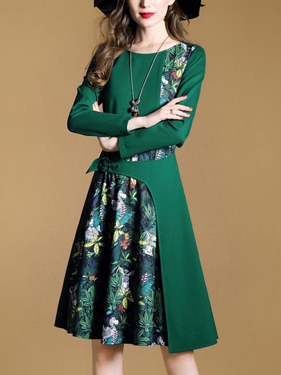 Green Double-Layered Printing Women's Day Dress