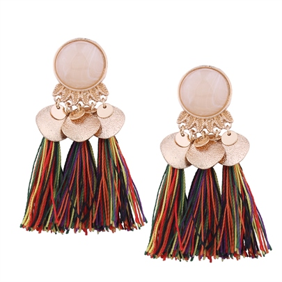Resin Alloy Ultra Violet Tassel Earrings