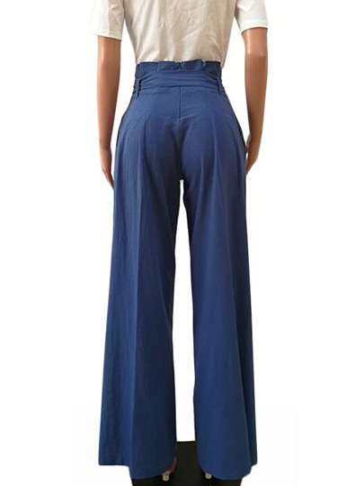 Plain Loose Pleated Lace-Up Women's Casual Pants