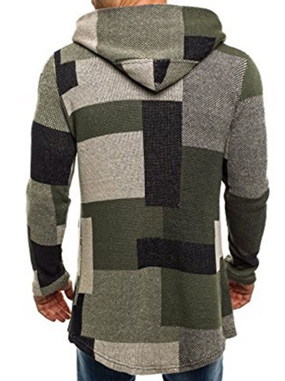 Hooded Patchwork Plaid Slim Cardigan Men's Hoodie