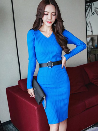 Plain V Neck Long Sleeve Women's Sweater Dress
