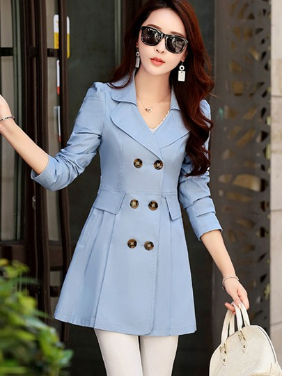Notched Lapel Double-breasted Slim Pleated Women's Trench Coat