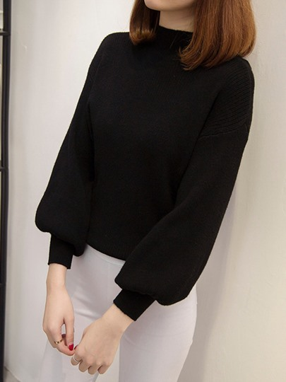 Turtleneck Pullover Lantern Sleeve Women's Sweater