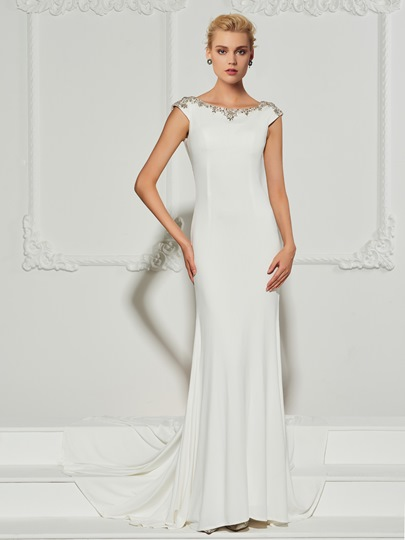 Mermaid Bateau Beading Cap Sleeves Sweep Train Evening Dress
