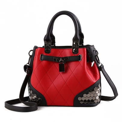 Vintage Color Block Rivet Women Tote