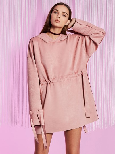 Pink Straight Women's Hooded Dress